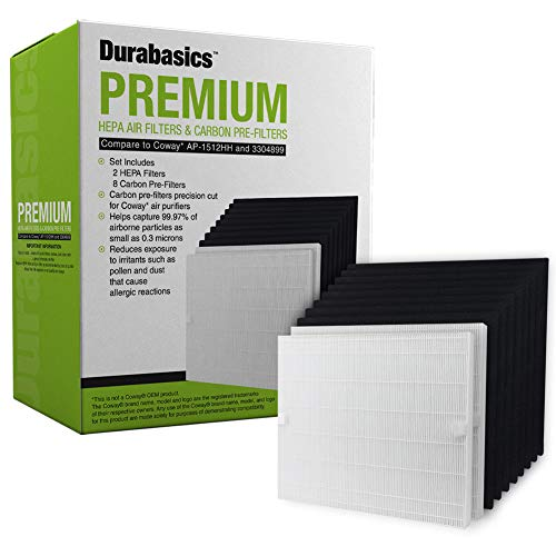 Durabasics HEPA Filter Value Set, 2 Premium HEPA Filters & 8 Activated Charcoal Pre-Cut Pre Filters, Compatible with Coway AP1512HH AP-1512HH AP1512 1512 1512HH, Replacements for Coway 3304899