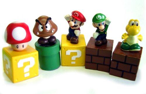 BIGOCT Super Mario Bros Mini Figures Bundle (Super Mario Bros Mushroom)