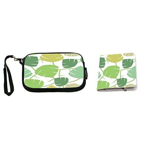 Rikki Knight Green Leaves Seamless Illustrated Design Design Neoprene Clutch Wristlet with Matching Passport Holder