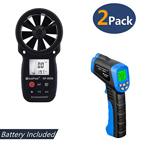 HOLDPEAK 866B Digital Anemometer Handheld Wind Speed Meter + 981C Non-Contact Digital Laser Infrared Thermometer -58 to 1022℉ (-50 to 550℃) with Adjustable Emissivity (2Pack)