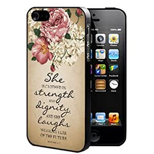 Proverbs 31:25 Bible Verse with Pink Vintage Roses and Tan Grunge (iPhone 4/4s) Rubber Silicone TPU Cell Phone Case by runtopwell