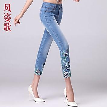 XiaoGao Tramo Recto, Ajustado, Damas, Pantalones Vaqueros ...
