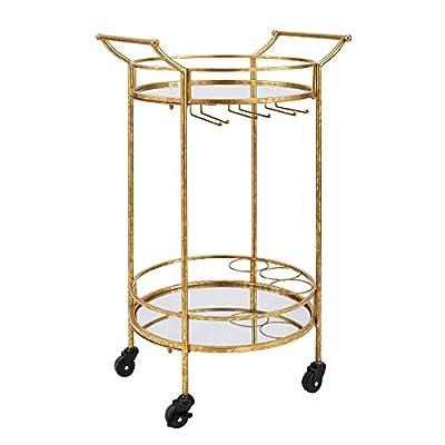 Linon AMZN0342 Teagan Gold Round Metal Bar Cart