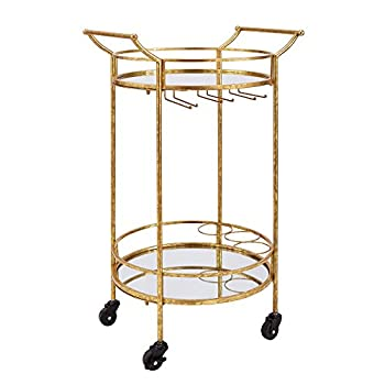Image of Home and Kitchen Linon Round Bar Cart, Gold