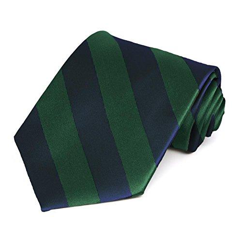 TieMart Hunter Green and Navy Blue Striped Tie from tiemart