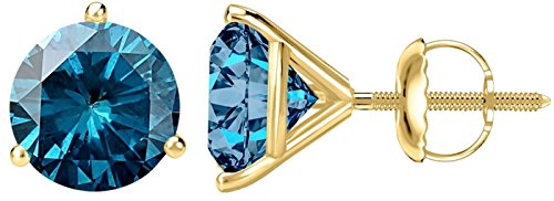 (1/2 0.5 Carat Total Weight Blue Diamond Solitaire Stud Earrings Pair 14K Yellow Gold Popular Premium Collection 3 Prong Screw Back)