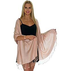 Pashmina Shawls and Wraps - Large Scarfs for Women - Party Bridal Long Fashion Shawl Wrap with Fringe by Petal Rose (Warm Beige)
