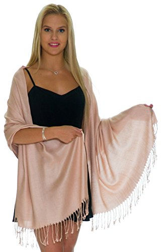 - Pashmina Shawls and Wraps - Large Scarfs for Women - Party Bridal Long Fashion Shawl Wrap with Fringe by ShineGlitz - Pale Rose Gold