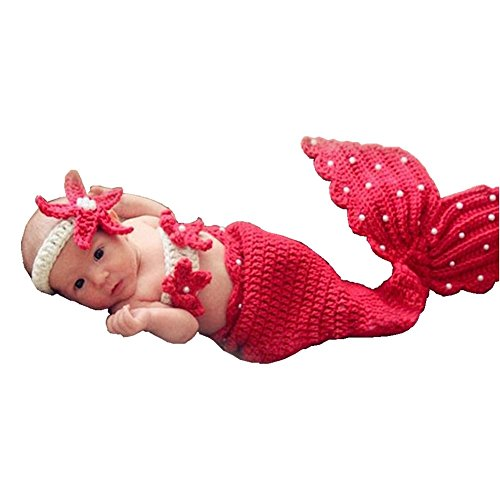 Sunbaby Newborn Photography Props Baby Knitting Wool Material Photography Costume Cute Animal Style Baby Crochet Clothes (Red Mermaid)