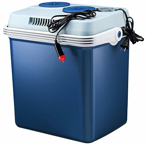 Knox 27 Quart Electric Car Refrigerator Cooler and Food Warmer (Blue) with Built in Car and House Plug