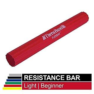 TheraBand FlexBar, Tennis Elbow Therapy Bar, Relieve Tendonitis Pain & Improve Grip Strength, Resistance Bar for Golfers Elbow & Tendinitis, Red, Light, Beginner