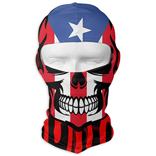 Leopoldson Dripping Puerto Rico Skull Flag Vintage Balaclava UV Protection Windproof Ski Face Masks for Cycling Outdoor Sports Full Face Mask Breathable