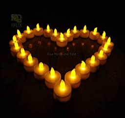 FLAMELESS TEA LIGHTS - 48 Yellow Flickering LED Tealight Candles with BONUS Luminary Bags Included from Frux Home and Yard