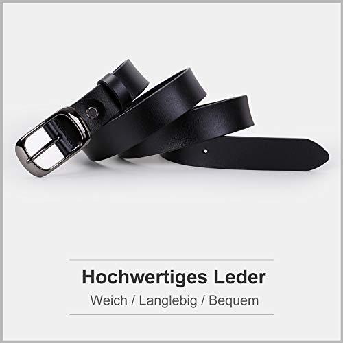 WERFORU Damen Ledergürtel Damen Schwarzer Taillengürtel mit polierter Schnalle für Jeans Hosen Kleider