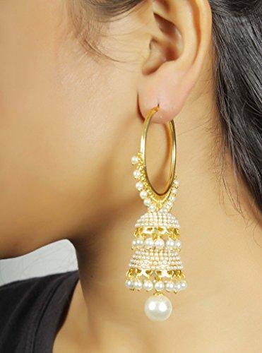 Womens Fabulaus Impressionnante Style Pearl Pierre Polki indien Boucles d'oreilles bijoux Partywear
