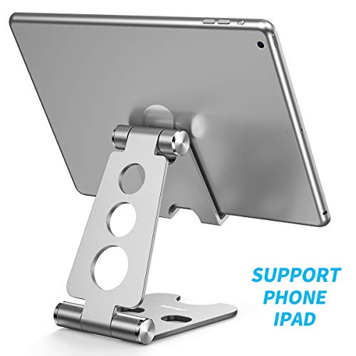 Cell Phone Stand,Foldable Phone Stand,Nonslip Silicone Pads Multi-Angle Adjustable Desktop Cell Phone Stand Holder for Tablet, iPad, iPhone X 8 7 Plus, Galaxy S8(4-12.9 inch)-Silver