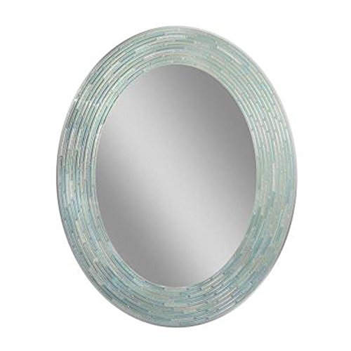 Headwest Reeded Sea Glass Oval Wall Mirror, 29 inches by 23 inches, - Bathroom Mirrors Inch 24 Seaglass