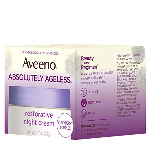 41jyP%2BfPLPL - Aveeno Absolutely Ageless Restorative Night Cream Facial Moisturizer with Antioxidant-Rich Blackberry Complex, Vitamin C & E, Hypoallergenic, Non-Greasy & Non-Comedogenic, 1.7 fl. oz
