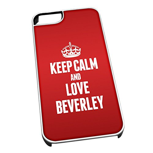 Bianco cover per iPhone 5/5S 0061Red Keep Calm and Love Beverley