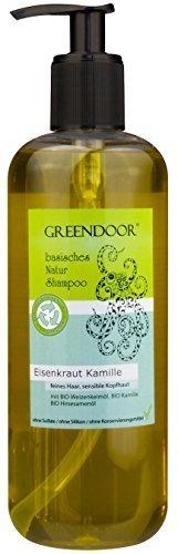 500 ml GROSS-Packung Greendoor Natur Shampoo Eisenkraut Kamille - für strapaziertes Haar, ohne Sulfate, ohne Silikon, ohne Konservierungsmittel, basische BIO Haarpflege