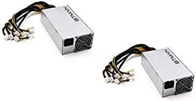 Antminer Power Supply APW3++ for S9 or L3+ or D3 w/ 10 Connectors 1200W@110v 1600W@220v - PACK OF 2