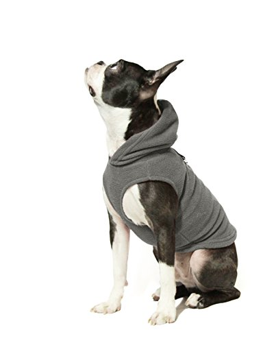 Gooby - Fleece Vest Hoodie, Small Dog Pull Over Hooded Fleece Jacket with Leash Ring, Gray, Medium
