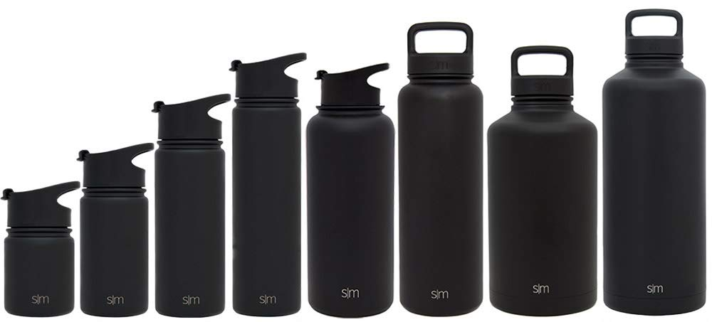 Simple Modern 18 oz Summit Water Bottle - Stainless Steel Hydro Metal Flask +2 Lids - Wide Mouth Double Wall Vacuum Insulated Black Large 2 Liter Half Gallon Cold Leakproof Thermos - A Midnight Black