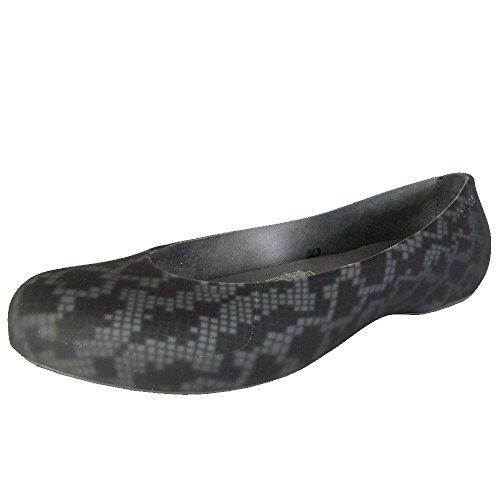 Crocs Femmes Thermalucent Imprimé Serpent Plat Noir / Charbon