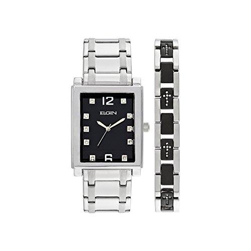 Elgin Crystal Watch (Elgin Mens Crystal Stainless Steel and Black Watch)