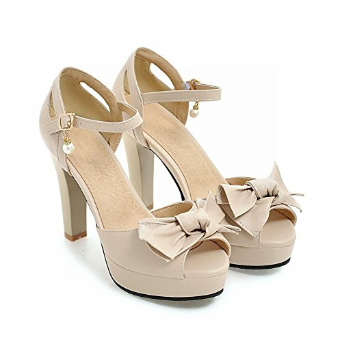 Mee Shoes Damen high heels ankle strap Peep toe Sandalen Aprikose
