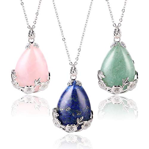 Wholesale 3 PCS Waterdrop Teardrop Pendant Necklace Real Quartz Gemstone with Silver Plated Hollow Bordure Chakra Reiki Charm