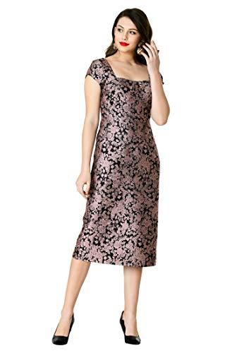 eShakti FX Sweetheart Floral Jacquard Sheath Dress Black/Dusty Pink