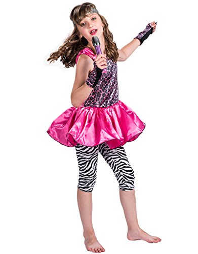 80's Rock Star Girl Costume (FantastCostumes Girls 80's Pop Rock Star Costume(Rose Red, Small))