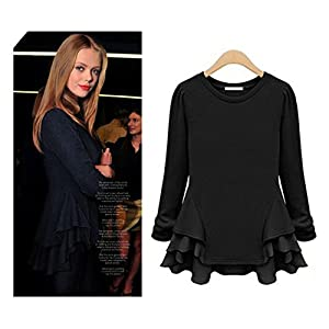 eshion Elegant Women Long Sleeve Casual Chiffon Solid Blouse Shirt Top
