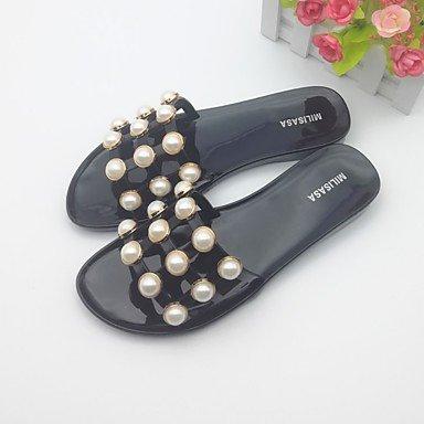 RUGAI-UE Moda de Verano Mujer sandalias casuales zapatos de tacones PU Confort,Blanca,US6.5-7 / UE37 / UK4,5-5 / CN37 Black