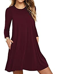 Womens Long Sleeve Pocket Casual Loose T-Shirt Dress