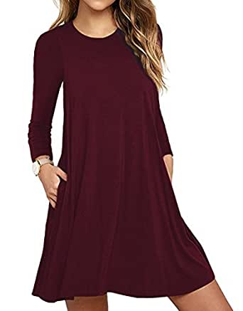 Unbranded  Women s Long Sleeve Pocket Casual Loose T-Shirt Dress at ... 69adf7752