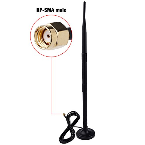 Wi-Fi 9dBi Booster Long Range Omni Directional 2.4Ghz 802.11n/b/g Antenna with RP-SMA Male Connector on Magnetic Base (10ft/3m RG174 Coaxial Cable) by KECUCO