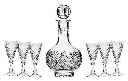 (OKSLO Set of 7 16-oz cut crystal liquor decanter set with 6 sherry glasses (1))