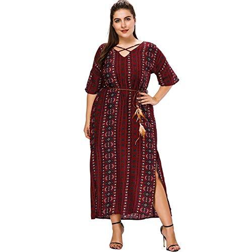 Plus Size Dress Women Side Split V Neck Waist Belt Half Sleeve Ankle Length Dresses Red]()