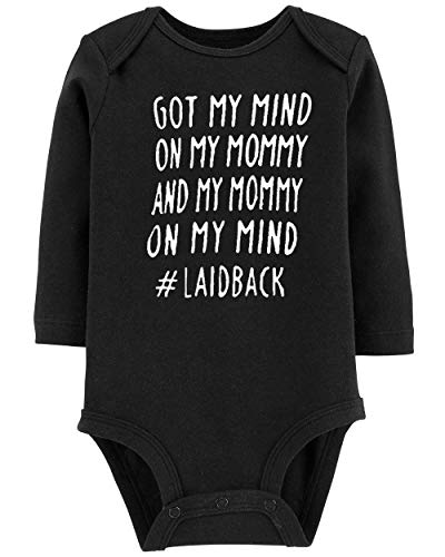 Unisex Babies Wean Neonate Innocent Fashion Slim Fit Black Romper Got My Mind on My Mommy Playsuit Winter Fall Going Home Clothes, 6 Months (Outfit Baby Boy Home Going)
