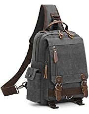 Wind Took Torba na ramię, torba na klatkę piersiową, plecak Crossover Bag Outdoor Daypack Vintage torba na ramię dla mężczyzn i kobiet, A – szary, Rozmiar uniwersalny, Torba na ramię