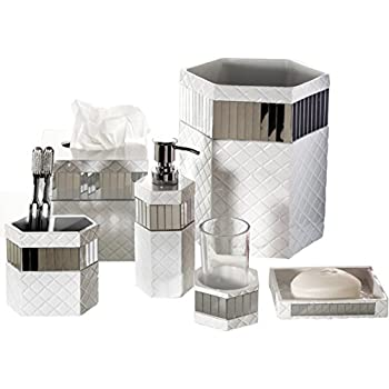 High Quality Creative Scents Quilted Mirror Bathroom Accessories Set, 6 Piece Bath Set  Collection Features Soap Dispenser Design Ideas