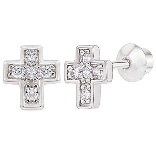 925 Sterling Silver CZ Little Cross Screw Back Earrings for Girls Silver Little Cross