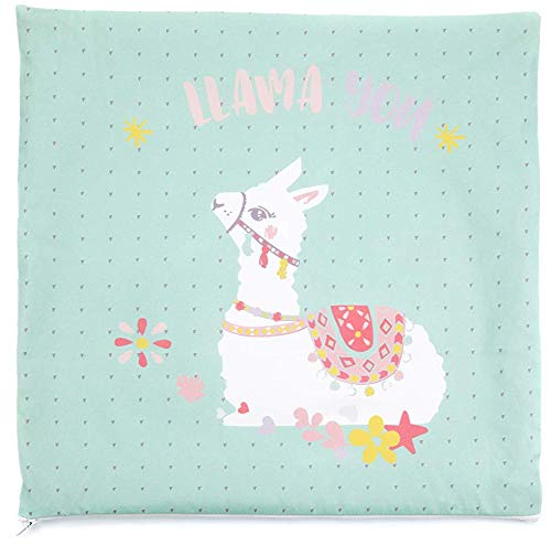 HEITMANN DECO large decorative cushion for childrens rooms cushion cover 40 x 40 cm in light blue cushion cover with Lama pattern