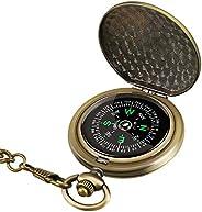 Intsun Retro Compass Portable Military Compass Fluorescent Glow Survival Gear Compass Outdoor Navigation Compa