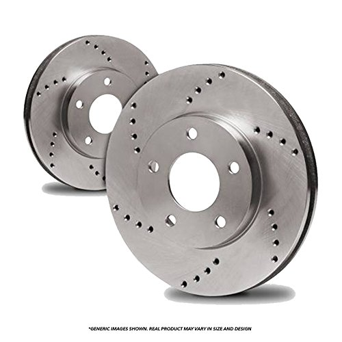 Hot (Rear Rotors)(Heavy Tough-Series) 2 Cross-Drilled Disc Brake Rotors(5lug) for sale