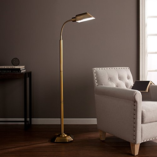 kaley Honey Steel Alton Task Floor Lamp by FurnitureMaxx