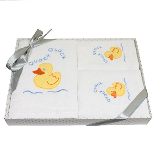 Harwoods Duck Childrens Gift Box 3 Piece Towel Set, White