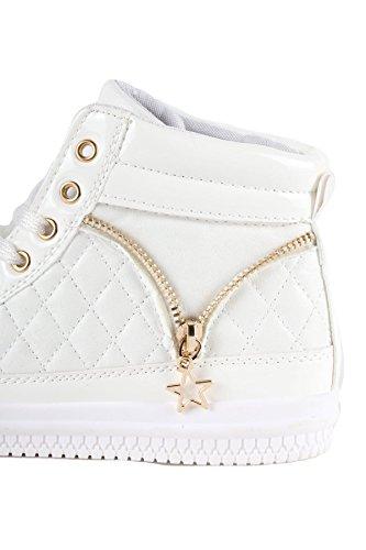 Hadari Metalen Metallic Gewatteerde Rits Detail Sneaker